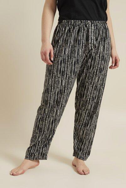 For Big Trend Kadın Siyah Desenli Büyük Beden Pijama Altı