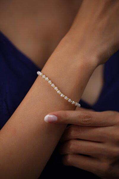 Ninova Silver Kadın Dorika Ve Ay Taşlı Altın Kaplama Gümüş Bileklik