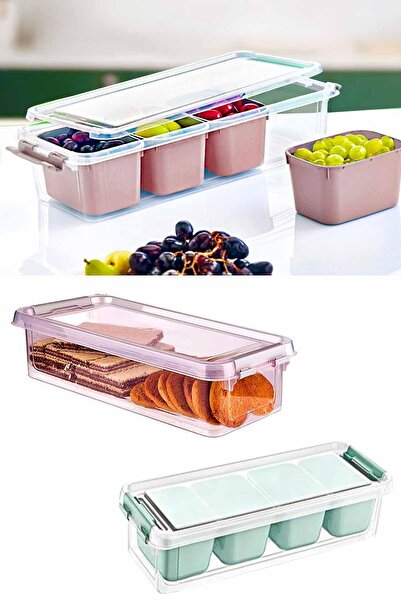 Helen's Home Maxi 4 Bölmeli Kapaklı Çok Amaçlı Saklama Kutusu Plastik Kahvaltılık Saklama Kabı Organizer 3,5lt