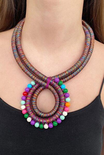 TAKIŞTIR Kadın Özel Tasarım Karışık Renk Boncuk Detaylı Kolye