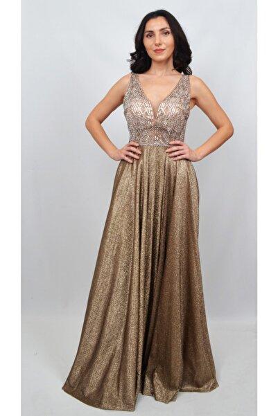 ALİS DRESS Kadın Gold Taş Detaylı Parıltı Etekli Abiye