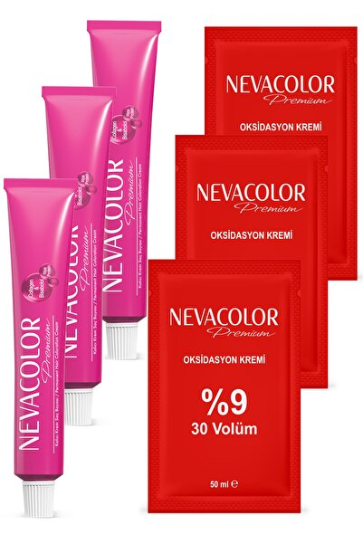 Nevacolor Premium Tüp 9.01 Gümüş 2 Adet + 0.01 Yoğ. Güm. Gri 1 Adet + Oksidasyon Kremi 30 Vol. 3 Ad.