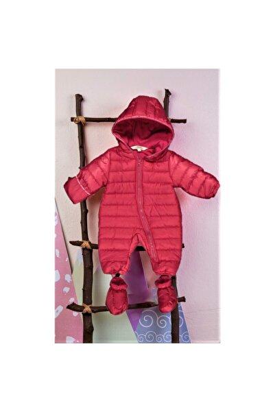 Midimod Bebek Kırmızı Kışlık Panduf Ayaklı Kapüşonlu Kozmonot Tulum
