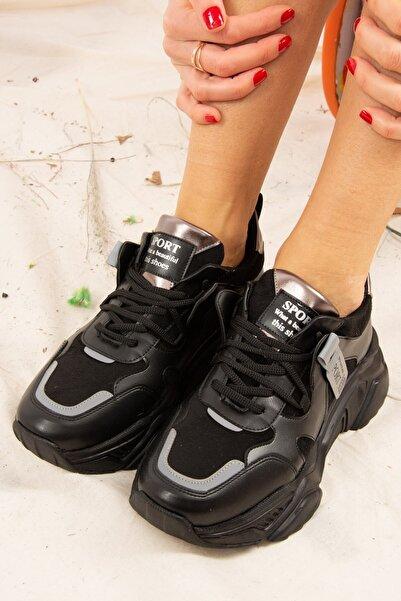 Fox Shoes Kadın Siyah Suni Deri Sneakers