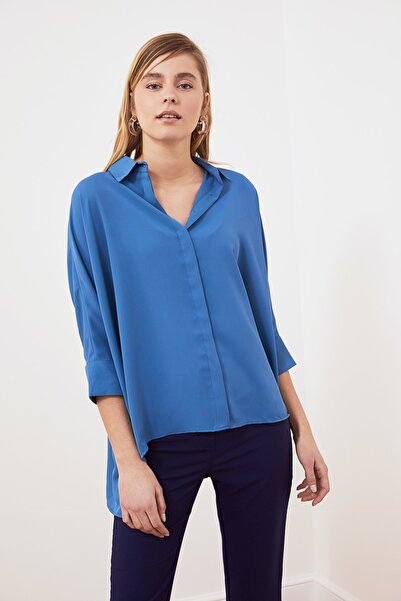TRENDYOLMİLLA Indigo Kısa Kol Gömlek TWOSS20GO0200