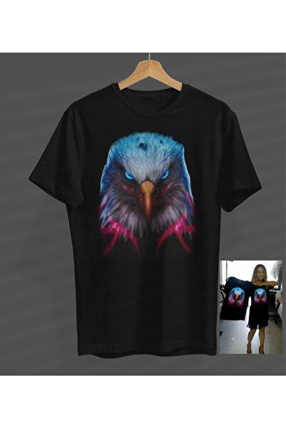 NVM Tekstil Kartal Renkli Özel Tasarım Siyah Yuvarlak Yaka T-shirt
