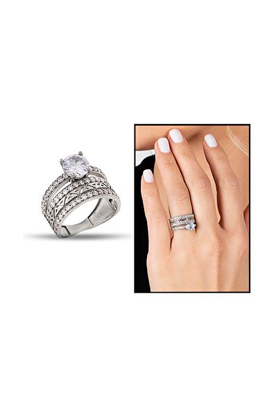 Tesbihane Kadın 925 Ayar Gümüş 3 Sıra Beyaz Zirkon Taş İşlemeli Yarım Tur Tektaş Yüzük