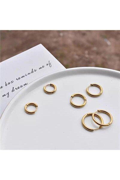 Jaida Moda Kadın Gold Renk Cerrahi Çelik 3lü Set Halka Küpe
