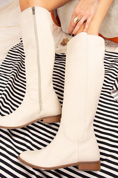 Fox Shoes Bej Suni Deri Kadın Çizme J654065609