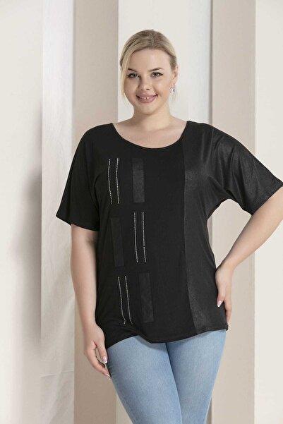 RMG Kadın Siyah Taş Detaylı Tişört 6670Y.