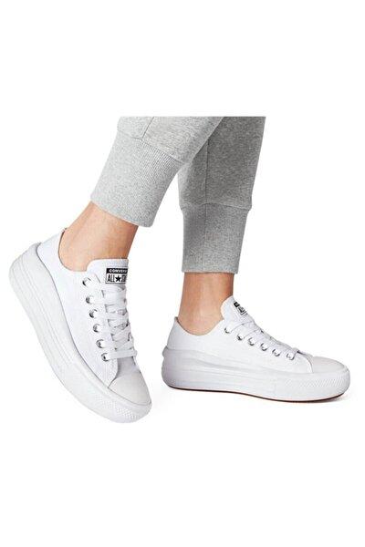 converse All Star Beyaz Kalın Yüksek Taban Spor Ayakkabı 570257c V2