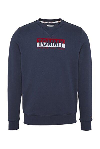 Tommy Hilfiger Erkek Lacivert Sweatshirt Tjm Essentıal Splıt Box Crew