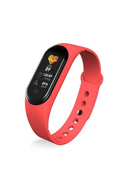 OWWOTECH M5 Akıllı Bileklik -spor-monitorü- Adımsayar - Uyku Takip - Kalp Ritim Ölçer Kırmızı