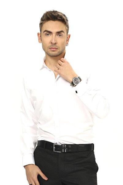 ModaPlaza Erkek Beyaz Ata Yaka Manşetli Gömlek
