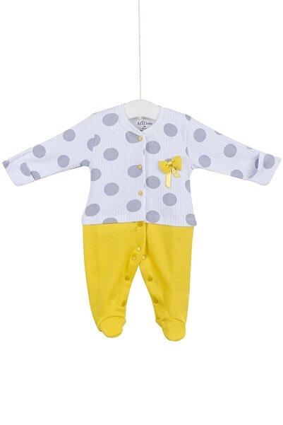 Aziz Bebe Kız Bebek Beyaz Çıtçıtlı Patikli Tulum 0-6 Ay AZZ006680