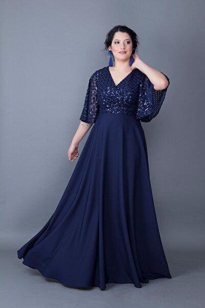 Bidoluelbise Kadın Lacivert Payetli Abiye Elbise