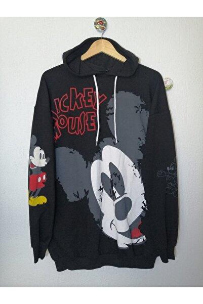 DESTİNA Kadın Siyah Mickey Mouse Baskılı Kapüşonlu Sweatshirt