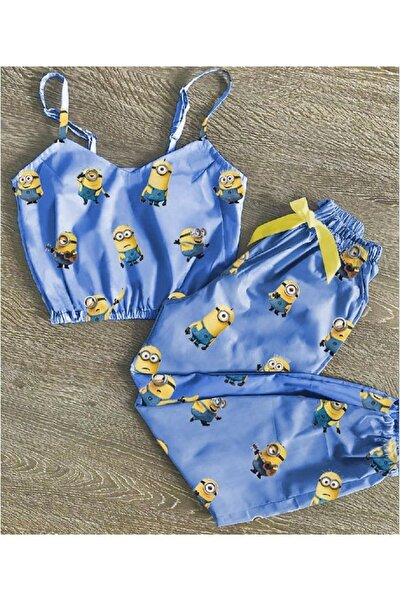 Pembishomewear 2 Li Askılı Çıllgın Hırsız Desenli Trend Saten Pijama Takımı