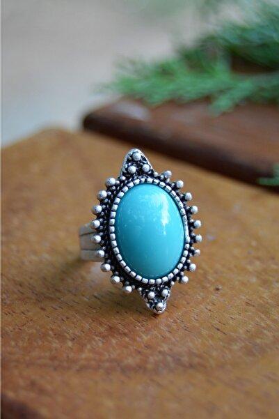 Stoneage Turkuaz Taşlı Hint Gümüşü Ayarlanabilir Bohem Bayan Yüzük Türk Malı Üretim