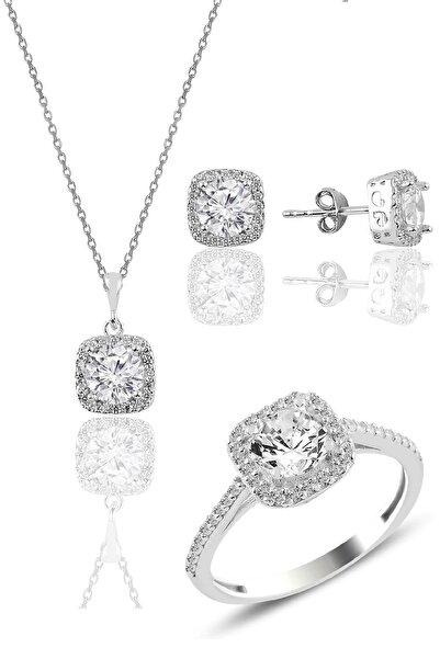 Söğütlü Silver Gümüş Rodyumlu Zirkon Taşlı Kare Üçlü Set
