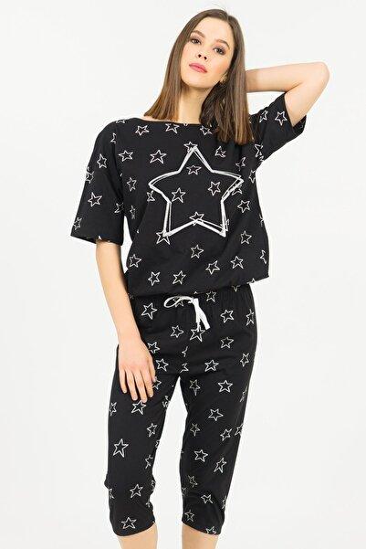 VİENETTA Pamuklu Düşük Omuzlu Kısa Kol Kaprili Pijama Takım