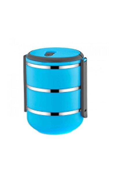 FreshBox 3 Katlı Sızdırmaz Yemek Termosu Sefer Tası Saklama Kabı Mavi 2,25 Litre