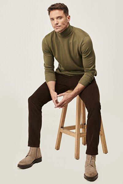 ALTINYILDIZ CLASSICS Erkek Kahverengi Slim Fit Dar Kesim Yan Cep Kadife Kışlık Pantolon