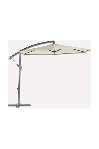 Bidesenal Bahçe Şemsiye 3 Metrelik Ampul Şemsiye Gölgelik Tente Krem Renkli