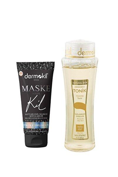 Dermokil Natural Skin Tonik Yağlı Ciltler 200 Ml Havyarlı Siyah Kil Maskesi 75 Ml ( Soyulabilir ) 2'li Set
