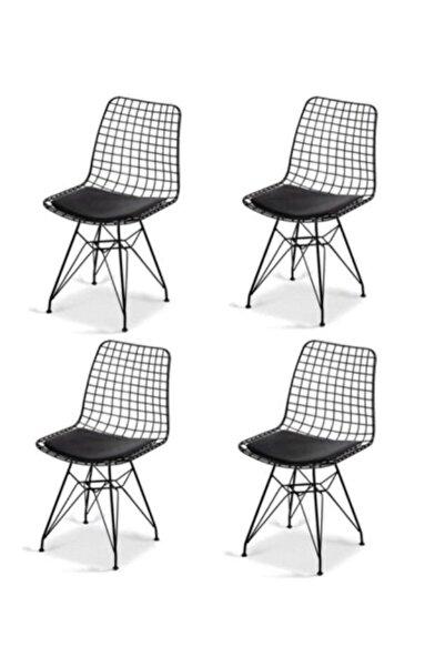 AVVİO Roma 4'lü Siyah Tel Sandalye- Mutfak Sandalyesi