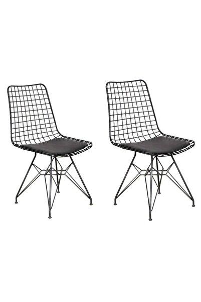 AVVİO Roma 2'li Siyah Tel Sandalye- Mutfak Sandalyesi