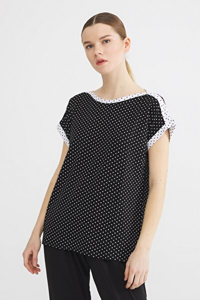 Love My Body Kadın Siyah Kontrast Renkli Puantiyeli Bluz 175L7321000