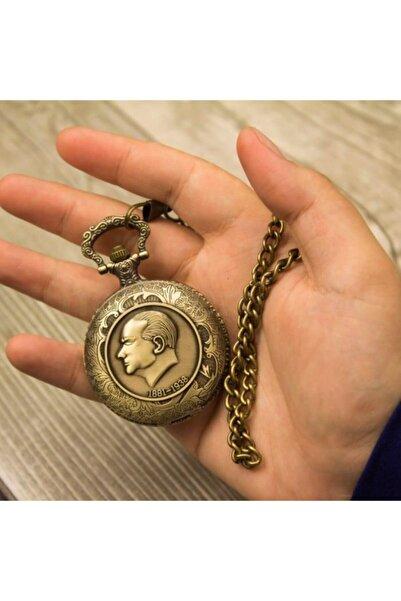 Keskin Kabartmalı Atatürk Desenli Köstekli Cep Saati Klasik Kemer Zincirli