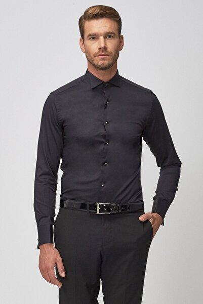 ALTINYILDIZ CLASSICS Erkek Siyah Siyah Damatlık Ata Yaka Tailored Slim Fit