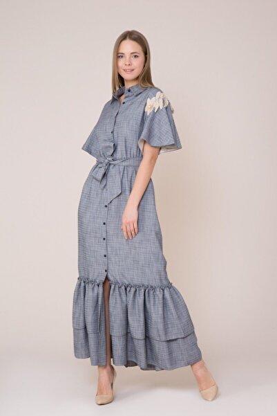 GIZIA CASUAL Çiçek Nakış Detaylı Lacivert Elbise