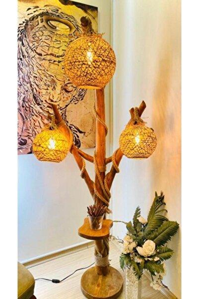 OzdenWoodHome Ağaç Lambader Doğal Min. 180 Cm 3 Başlıklı Halikarnas Serisi