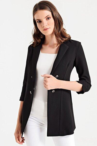 Jument Kadın Siyah Edana Yakalı Capri Kol Çift Düğmeli Ceket 39002