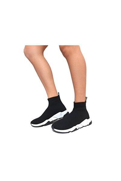 ASKA SHOES Kadın  Siyah Triko Streç Çorap Bot Sneaker Günlük Spor Ayakkabı