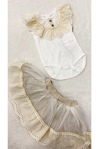 Cumino Kız Bebek Dantel Bluz Dantel Elbise Takım 2 Parça