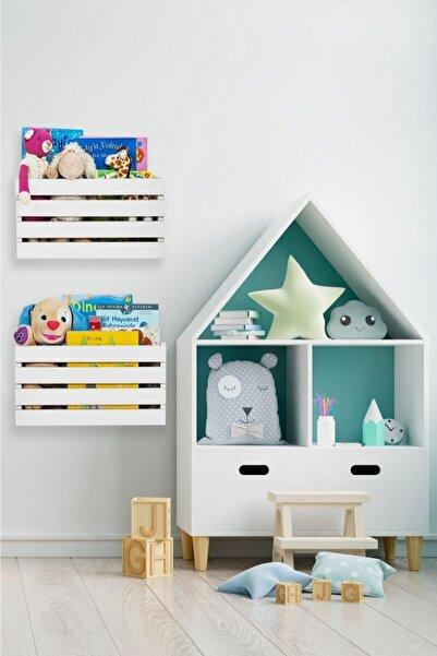 Ankaflex Beyaz Çocuk Odası Duvara Monteli Montessori Oyuncak Kutusu 2'li