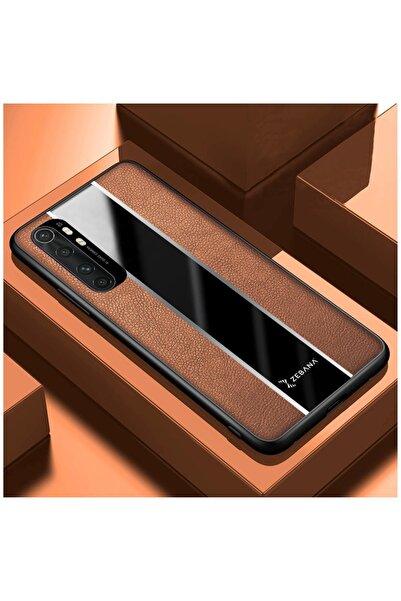 Dara Aksesuar Xiaomi Mi Note 10 Lite Uyumlu Kahverengi Deri Telefon Kılıfı