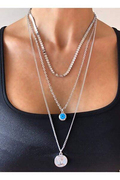 Wish Silver Aksesuar Kadın Mavi Göz Boncuk ve Roma Para Detaylı Gümüş Renk Zincirli Üçlü Çoklu Sallantılı Uzun Kolye