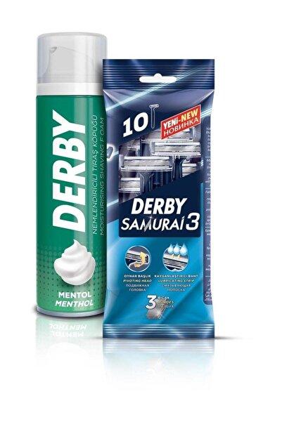 Derby Samurai 3 Bıçaklı 10'lu Poşet + Tıraş Köpüğü Mentol 200 ml