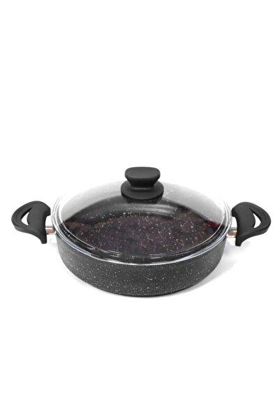 Essenso 24cm Granit Düz Basık,karnıyarık Tencere,siyah