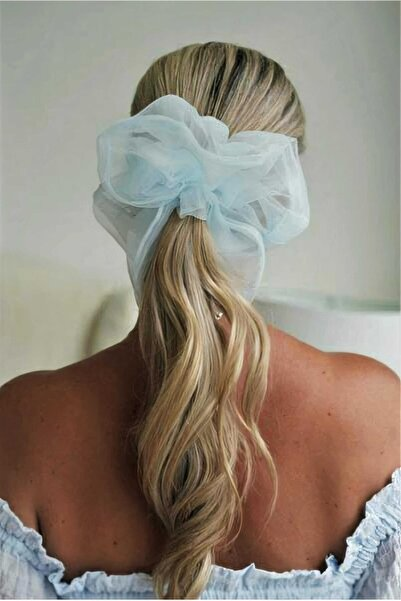 H&E DESIGN Kadın Soft Mavi Organze Saç Lastik Toka
