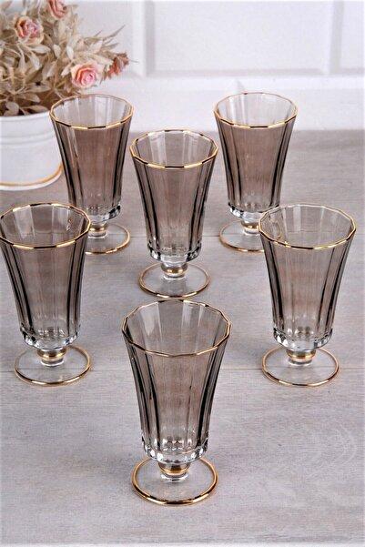 Olcay Home Lüx Lüsterli Füme Renk Kahve Yanı Su Bardağı - 6 Kişilik