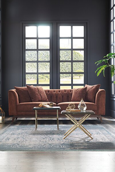 Enza Home Elegante Kahverengi 3'lü Koltuk - Deri Desenli Kumaş