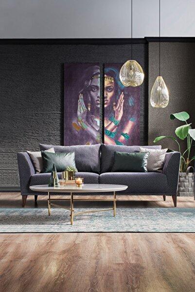 Enza Home Gravity Plus Lacivert 3'lü Koltuk - Kadife Kumaş