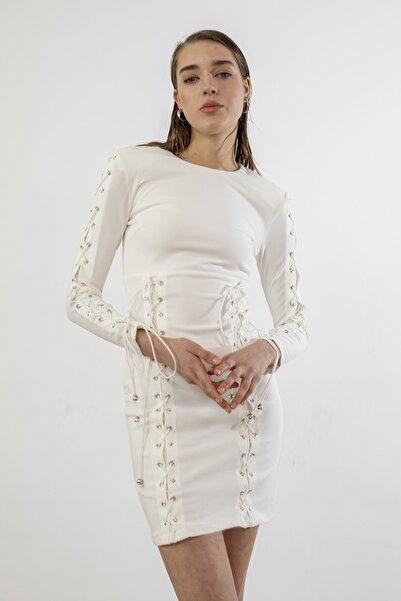 Foremia Kadın Beyaz Ip Detay Vatkalı Elbise