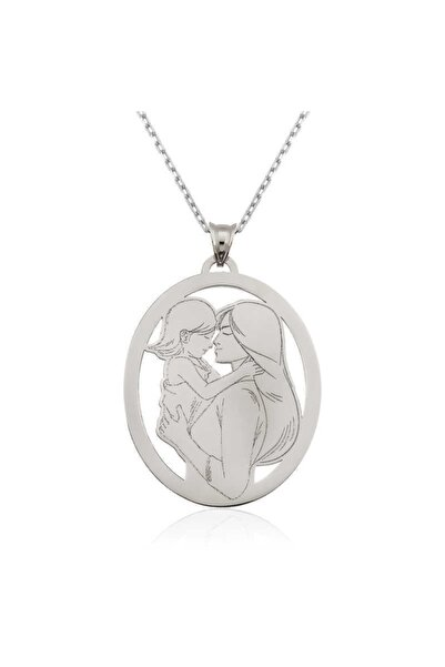 Gumush Kadın Anne Kız Motifli Gümüş Kolye